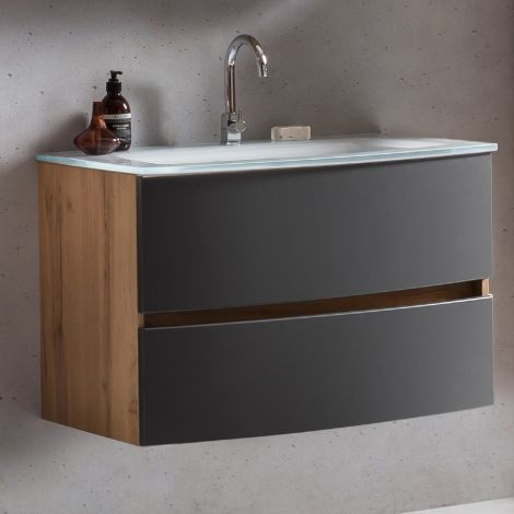 Meuble vasque Kornel 80cm avec vasque blanche - chêne/gris mat