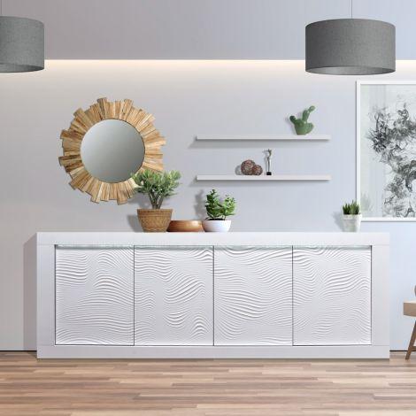 Bahut Kaia 220cm à 4 portes - blanc brillant