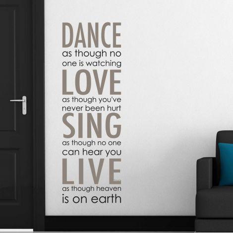 Sticker mural Dance, Love, Sing, Live