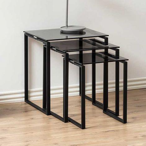 Set de 3 tables d'appoint Nicola - noir