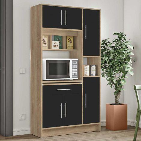 Armoire de cuisine Louise pour four à micro-ondes - chêne/noir