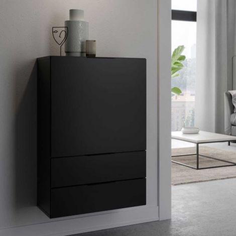 Commode Damien 50cm avec porte & 2 tiroirs - noir