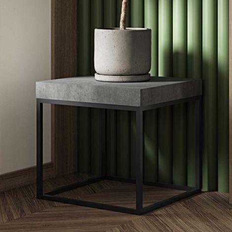 Table d'appoint Petra 55x55 industriel - béton/noir