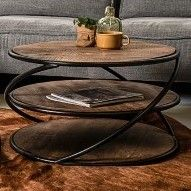 Table basse Tower ø70cm - bois de manguier/fer