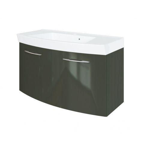 Meuble vasque Florent courbé 100cm 2 portes - graphite/gris brillant