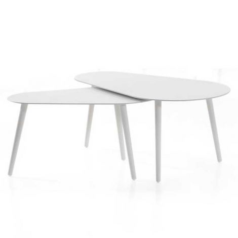 Jeu de 2 tables basses pour extérieur Equator/Gabon - blanc