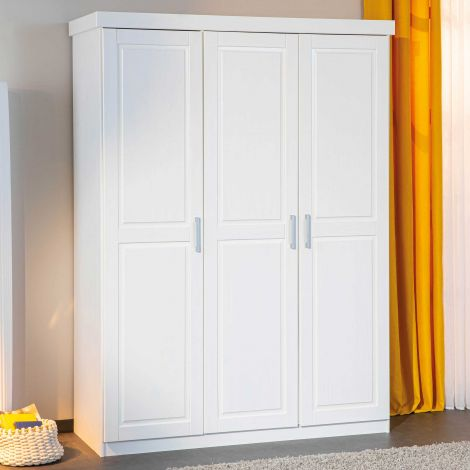 Garde-robe Léon 140cm avec 3 portes - blanc