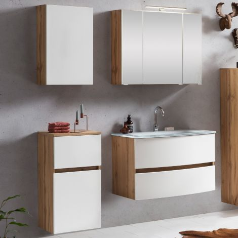 Ensemble salle de bains Kornel 7 à 4 pièces avec vasque blanche - chêne/blanc mat