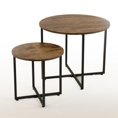 Lot de 2 tables basses Virgo - brun/noir