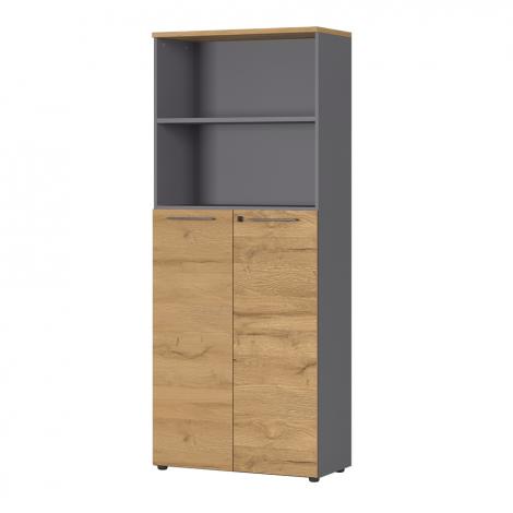 Classeur Osmond 80cm à 2 portes & 2 niches - chêne/graphite