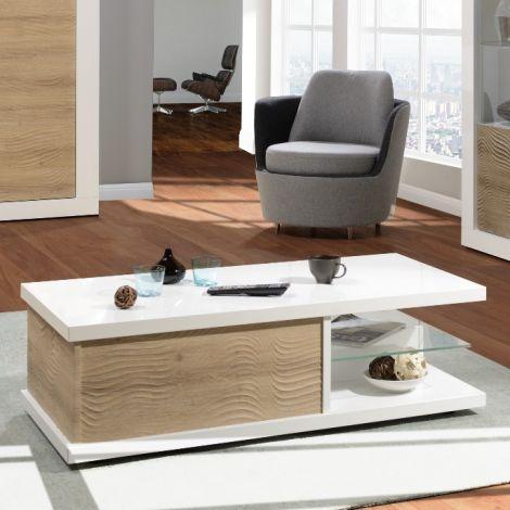 Table basse Kaia 120x60 - blanc brillant/chêne