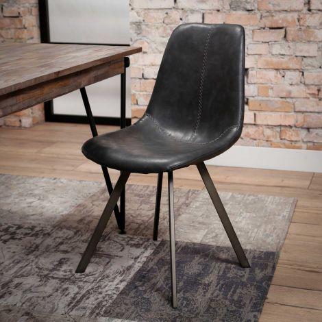 Chaise couture zigzag cadre plat - Lot de 4 - Saddle PU noir