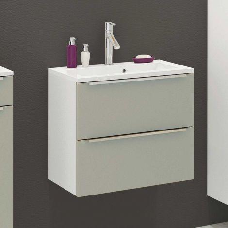 Meuble lavabo Hansen L60xP39cm avec 2 tiroirs - gris/blanc