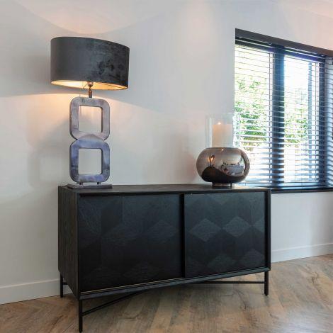 Bahut Blax 160cm 2 portes coulissantes - noir