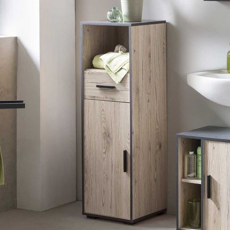Armoire de salle de bains Ariadna avec porte & tiroir - chêne gris/gris graphite