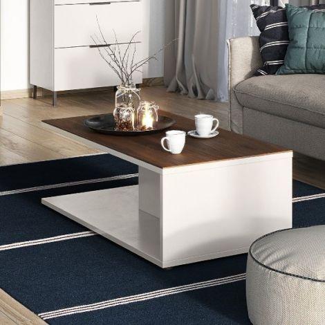 Table basse Karsten 109cm - cachemire/noyer