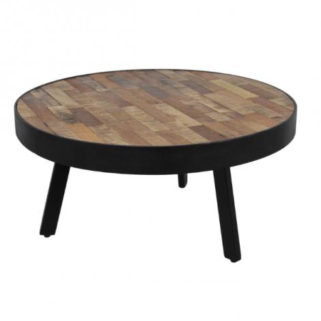 Table basse Montréal ø70 cm - bois de manguier/fer