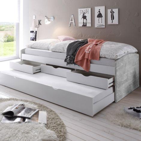 Lit banquette Nasri 90x200 avec tiroir de lit - béton/blanc