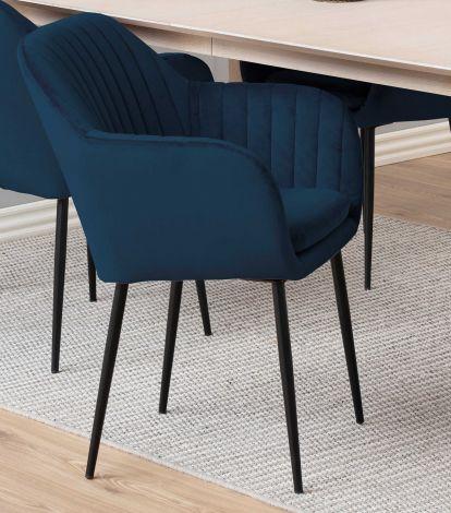 Chaise avec accoudoirs Hermeline - bleu foncé/noir