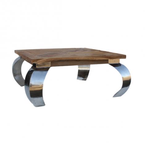 Table basse Opium 100x100cm carré - teck/acier inoxydable