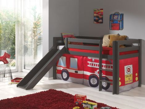 Lit mi-hauteur Astrid taupe avec toboggan - tente pompier