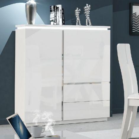 Vaisselier Elif 110cm à 2 portes & 2 tiroirs - blanc brillant