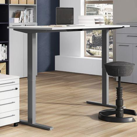 Bureau assis debout Oswald 180 cm électrique - gris clair/argent