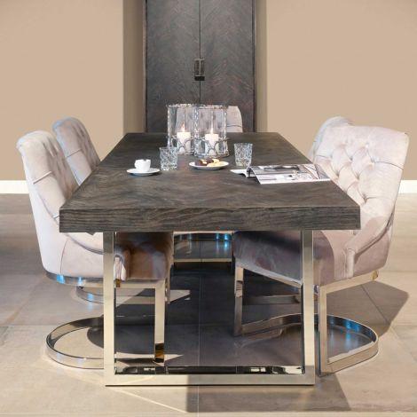 Table à manger extensible Bony 195/265x90cm - noir/argent
