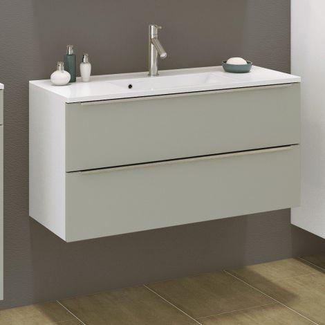 Meuble lavabo Hansen 100cm 2 tiroirs - gris/blanc
