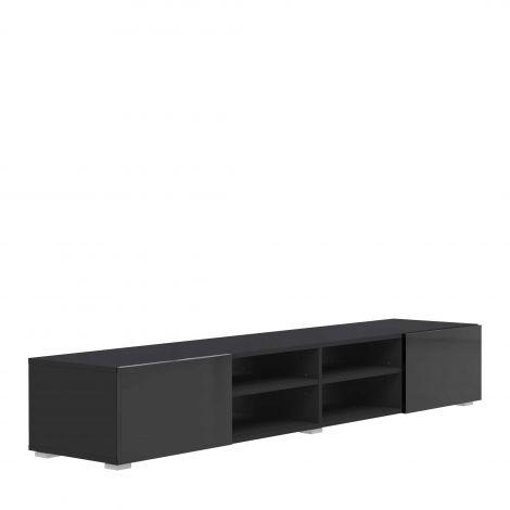 Meuble TV Podium 185cm avec 2 tiroirs - noir