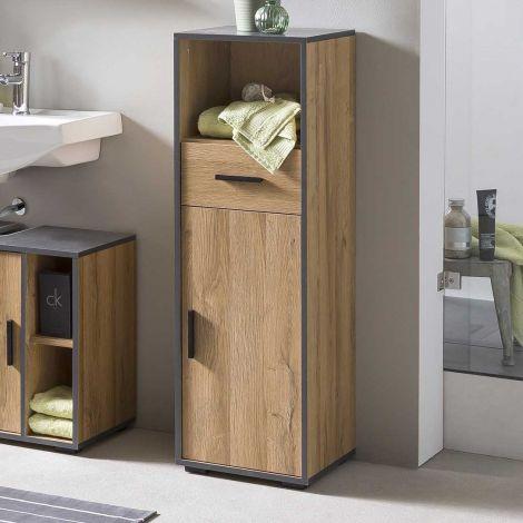 Armoire de salle de bains Ariadna avec porte & tiroir - chêne vieilli/gris graphite