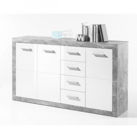 Bahut Stanno 152cm avec 3 portes & 4 tiroirs - béton/blanc