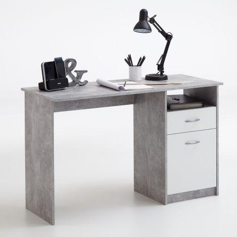 Bureau Jady 123cm - béton/blanc