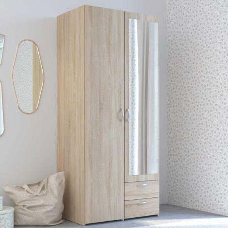 Armoire de rangement Salvador miroir, 2 portes & 2 tiroirs - chêne sonoma