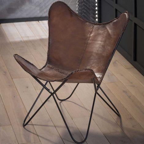 Lot de 2 chaises papillon en cuir