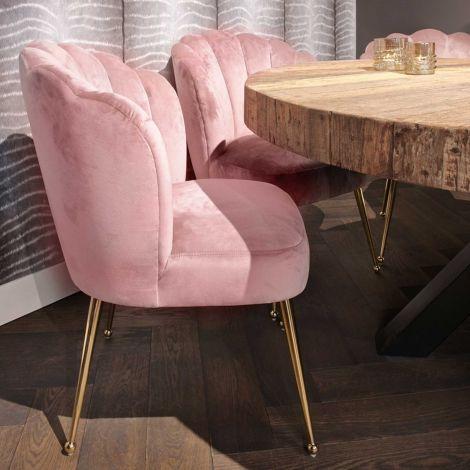 Chaise de salle à manger Chiesa velours - rose/or