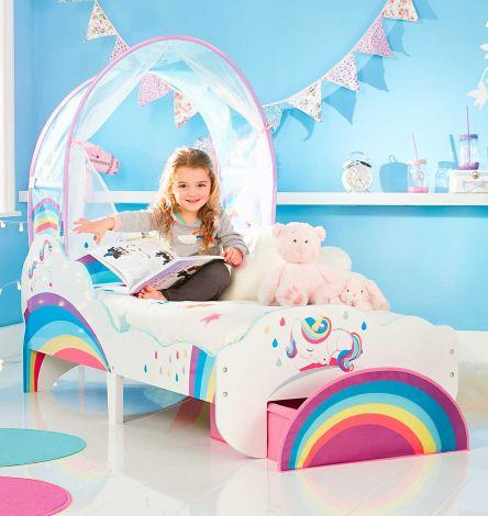 Lit junior à baldaquin avec tiroir Licorne & arc-en-ciel