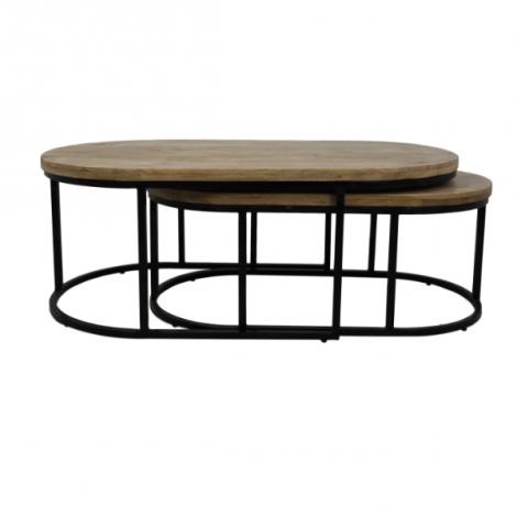 Lot de 2 tables basses City 120 cm - bois de manguier/fer
