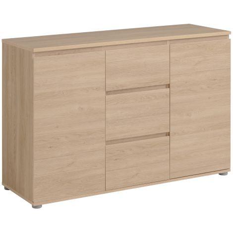 Bahut Néo 121cm 2 portes 3 tiroirs - chêne