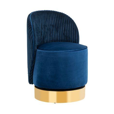 Fauteuil pivotant Presnel velours - bleu