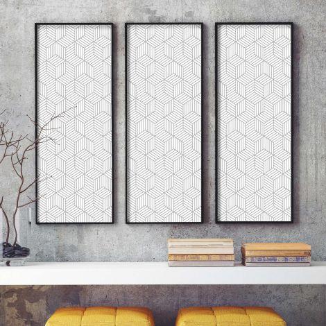 Papier peint adhésif Striped Hexagon - blanc/gris