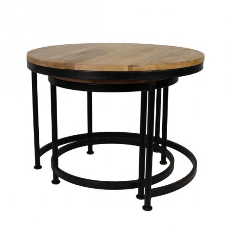 Lot de 2 tables basses Steal large - bois de manguier/fer