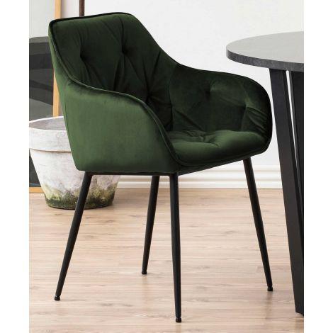 Set de 2 chaises avec accoudoirs Lynn - vert forêt/noir