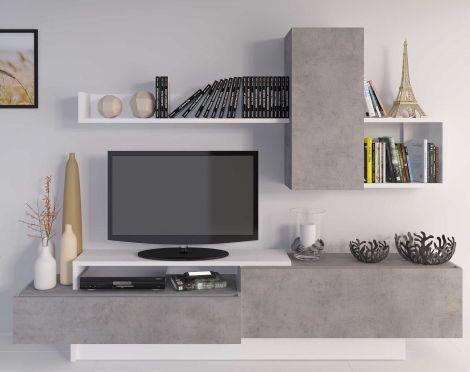 Meuble tv Cosmit 240cm - béton/blanc