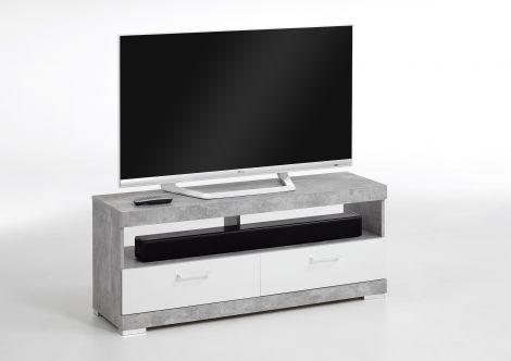 Meuble tv Cristal 120cm - béton/blanc brillant