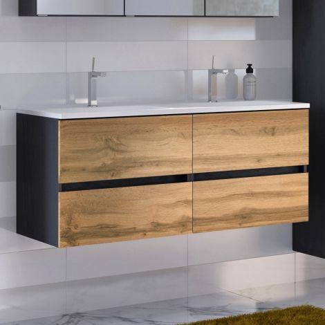 Meuble vasque Luna 120cm avec double vasque et 4 tiroirs - graphite/chêne