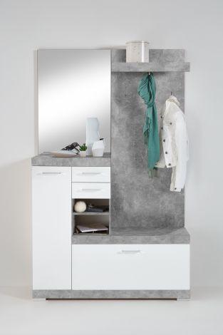 Vestiaire Cristal - béton/blanc brillant