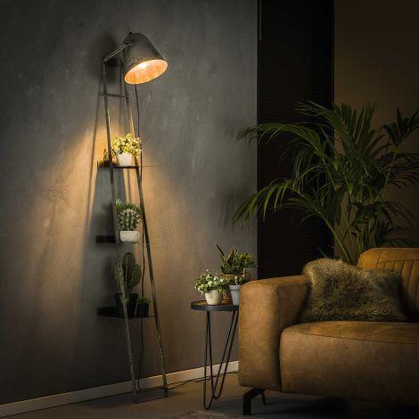 Etagère murale avec lampe Brecht industriel