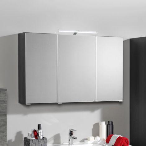 Armoire de toilette Bobbi 90cm modèle 2 3 portes & eclairage LED - graphite