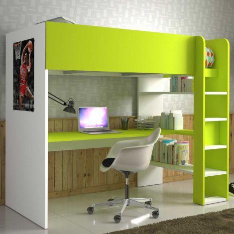 Lit mezzanine Beau avec bureau - blanc/vert